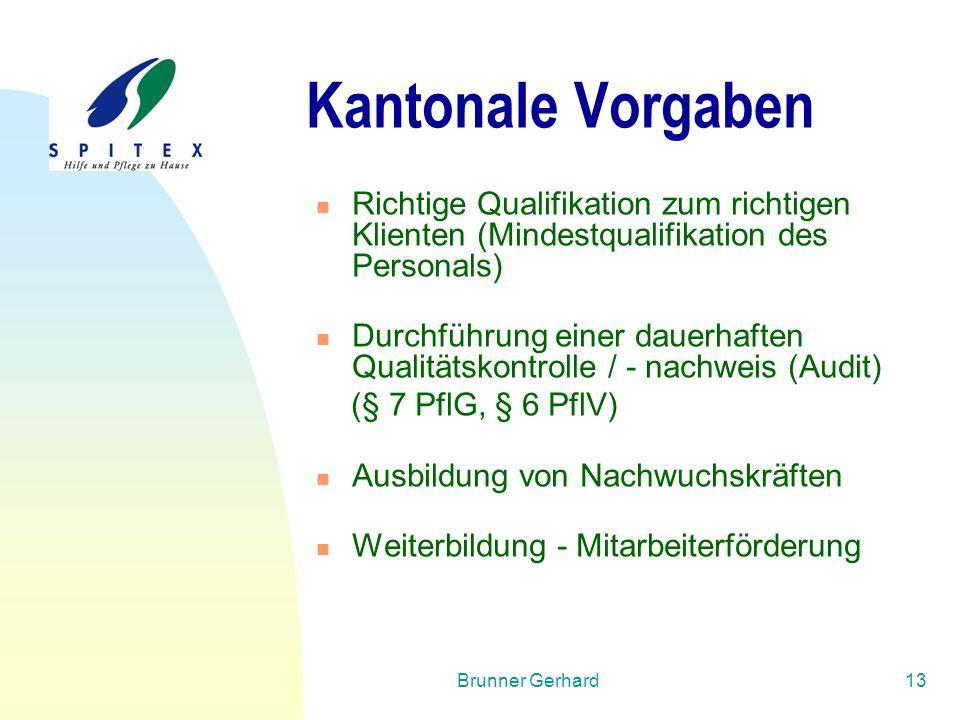 Brunner Gerhard13 Kantonale Vorgaben Richtige Qualifikation zum richtigen Klienten (Mindestqualifikation des Personals) Durchführung einer dauerhaften