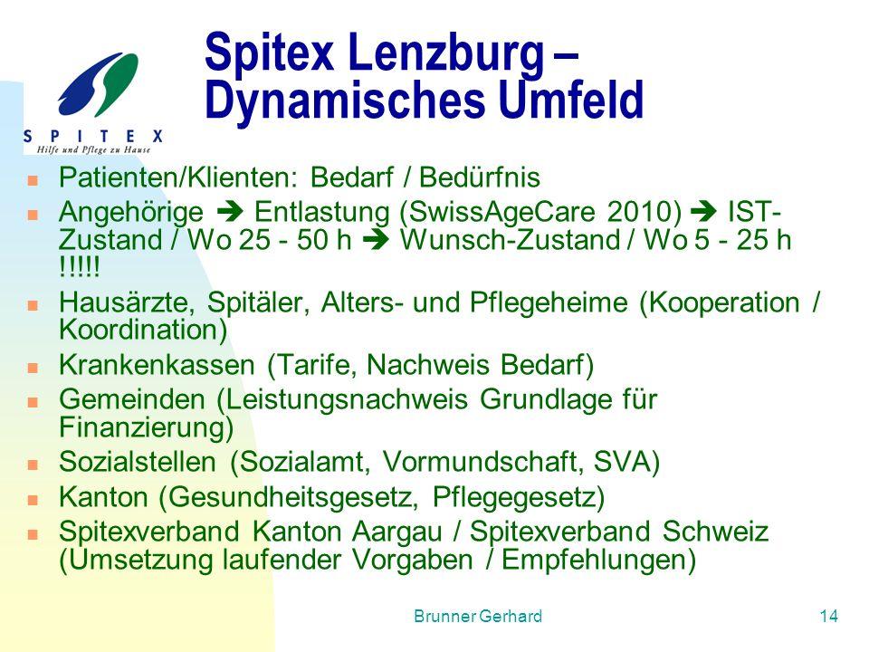 Brunner Gerhard14 Spitex Lenzburg – Dynamisches Umfeld Patienten/Klienten: Bedarf / Bedürfnis Angehörige  Entlastung (SwissAgeCare 2010)  IST- Zusta
