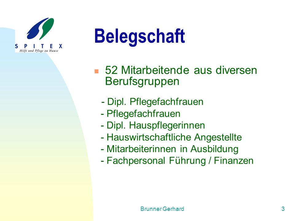 Brunner Gerhard14 Spitex Lenzburg – Dynamisches Umfeld Patienten/Klienten: Bedarf / Bedürfnis Angehörige  Entlastung (SwissAgeCare 2010)  IST- Zustand / Wo 25 - 50 h  Wunsch-Zustand / Wo 5 - 25 h !!!!.