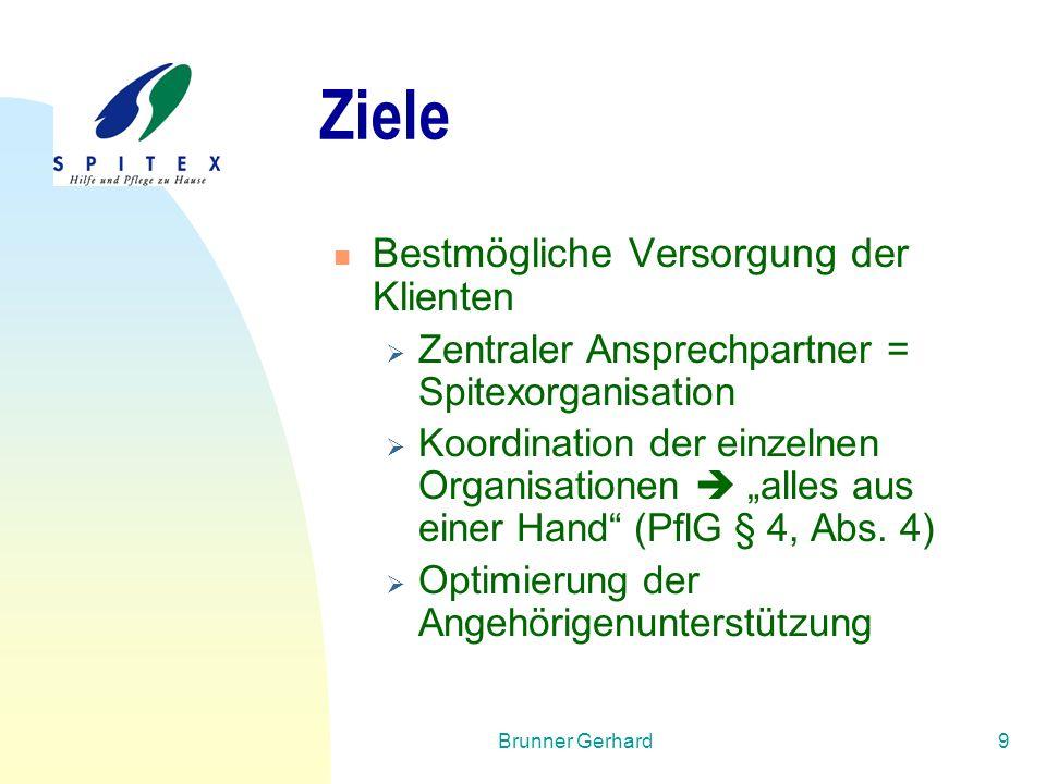 Brunner Gerhard9 Ziele Bestmögliche Versorgung der Klienten  Zentraler Ansprechpartner = Spitexorganisation  Koordination der einzelnen Organisation