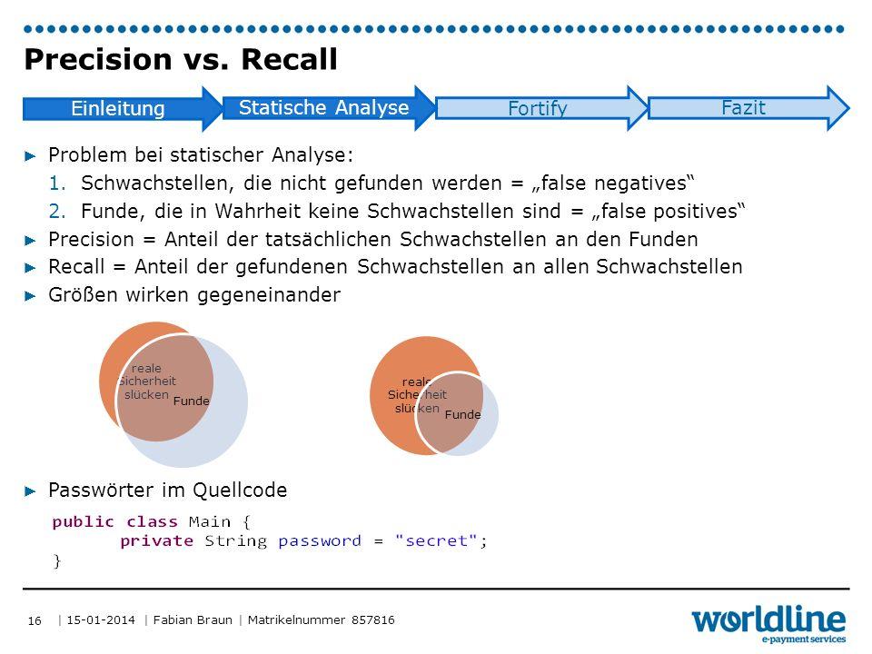 | 15-01-2014 | Fabian Braun | Matrikelnummer 857816 Einleitung Statische Analyse Fortify Fazit Precision vs.