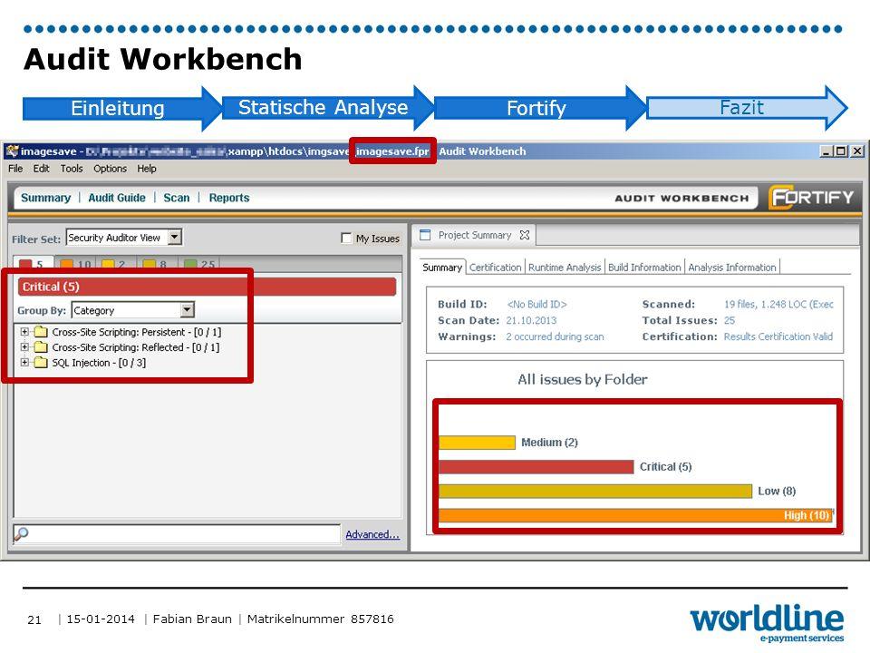 | 15-01-2014 | Fabian Braun | Matrikelnummer 857816 Einleitung Statische Analyse Fortify Fazit Audit Workbench 21