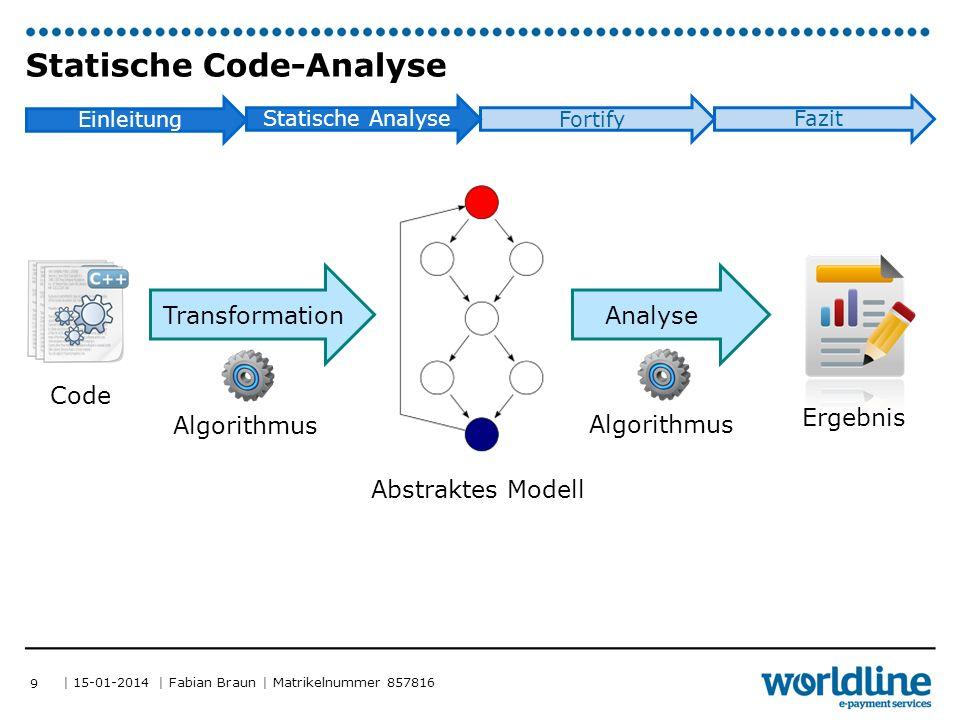 | 15-01-2014 | Fabian Braun | Matrikelnummer 857816 STATISCHE CODE-ANALYSE TECHNIKEN 10