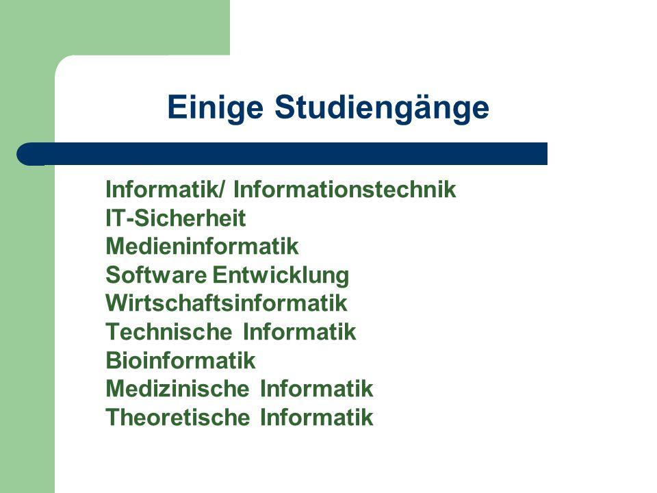 Einige Studiengänge Informatik/ Informationstechnik IT-Sicherheit Medieninformatik Software Entwicklung Wirtschaftsinformatik Technische Informatik Bioinformatik Medizinische Informatik Theoretische Informatik