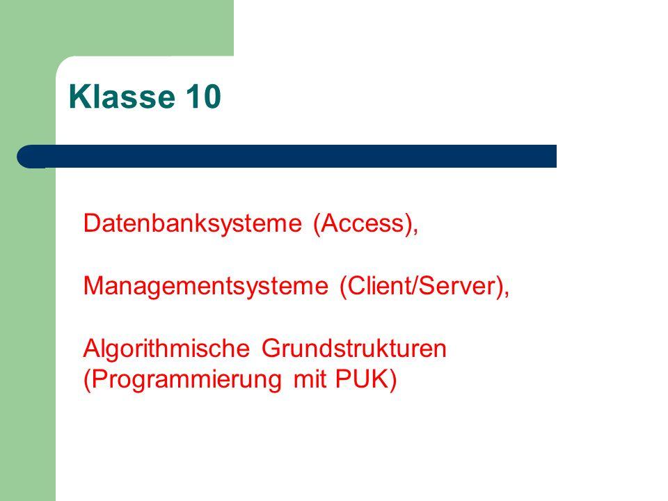 Klasse 10 Datenbanksysteme (Access), Managementsysteme (Client/Server), Algorithmische Grundstrukturen (Programmierung mit PUK)