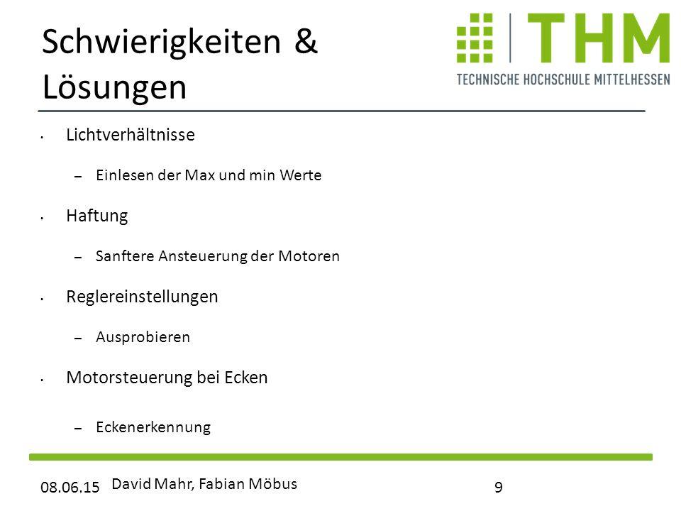 Schwierigkeiten & Lösungen Lichtverhältnisse – Einlesen der Max und min Werte Haftung – Sanftere Ansteuerung der Motoren Reglereinstellungen – Ausprob