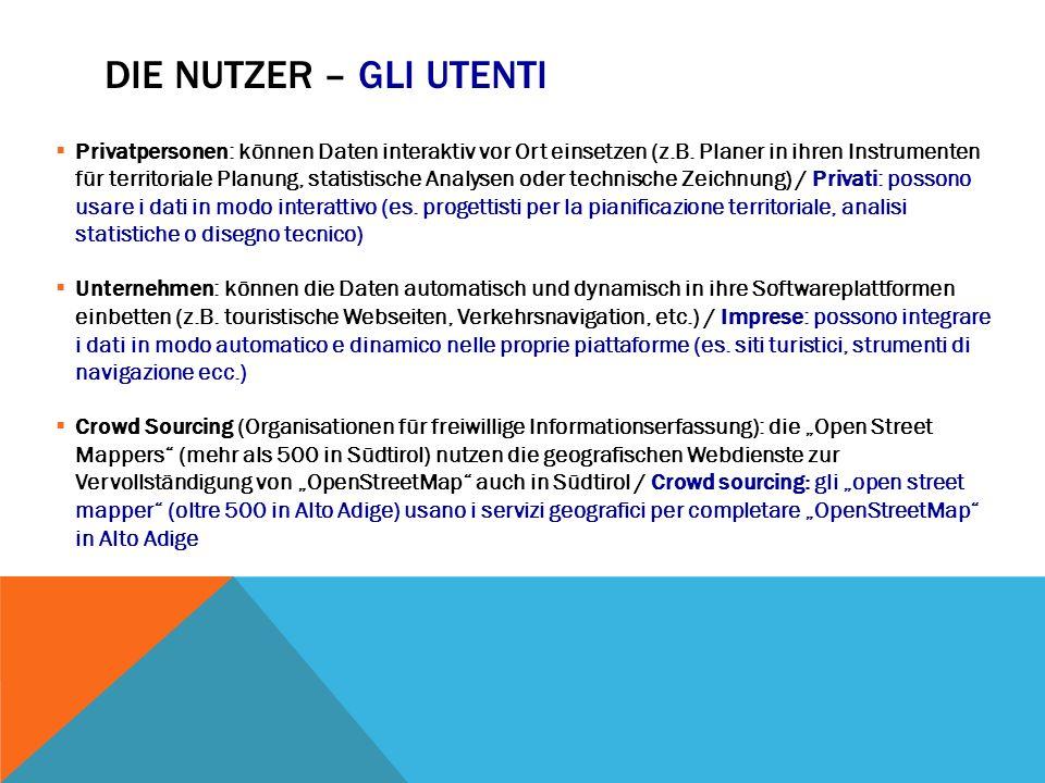 DIE NUTZER – GLI UTENTI  Privatpersonen: können Daten interaktiv vor Ort einsetzen (z.B.
