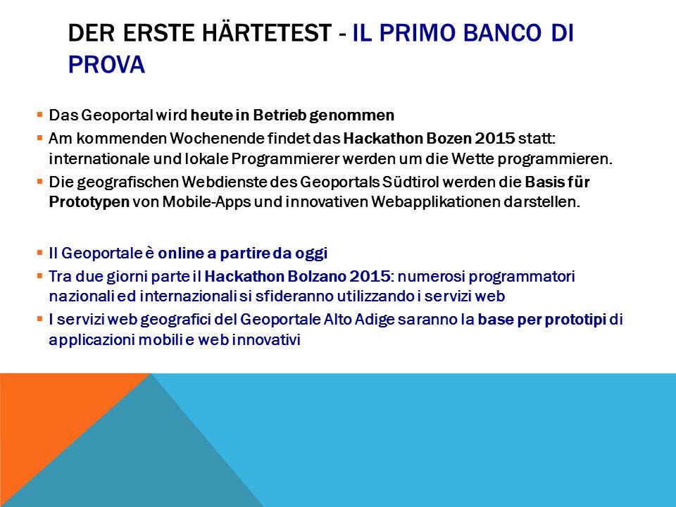 ADRESSE IM BÜRGERNETZ: INDIRIZZO WEB: geoportal.buergernetz.bz.it geoportale.retecivica.bz.it