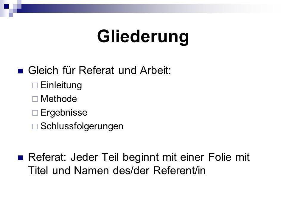 Gliederung Gleich für Referat und Arbeit:  Einleitung  Methode  Ergebnisse  Schlussfolgerungen Referat: Jeder Teil beginnt mit einer Folie mit Titel und Namen des/der Referent/in