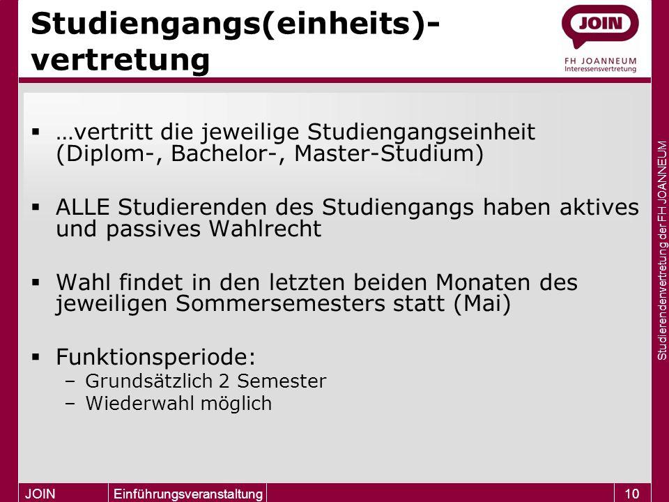 Studierendenvertretung der FH JOANNEUM JOIN Einführungsveranstaltung10 Studiengangs(einheits)- vertretung  …vertritt die jeweilige Studiengangseinhei