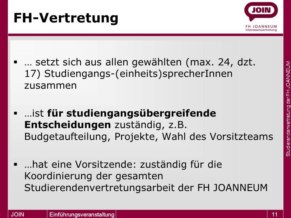 Studierendenvertretung der FH JOANNEUM JOIN Einführungsveranstaltung11 FH-Vertretung  … setzt sich aus allen gewählten (max. 24, dzt. 17) Studiengang