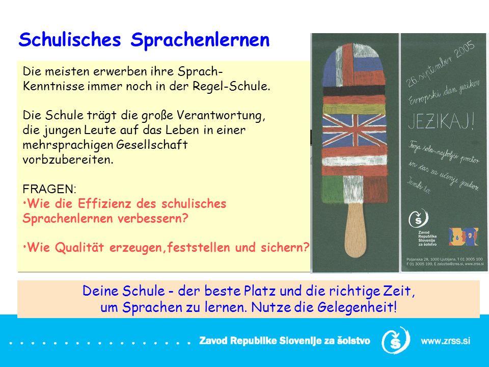 Projekt: Europäisches Sprachenportfolio, applikatives Forschungsprojekt: ESP-Implementierung und Begleitung Dauer 3 Jahre : OŠ von 2006 – 2009, SŠ von 2007 - 2010 Zielgruppe: Fremdsprachenlehrer, Schüler Zahl der Schulen: 72 OŠ (2.