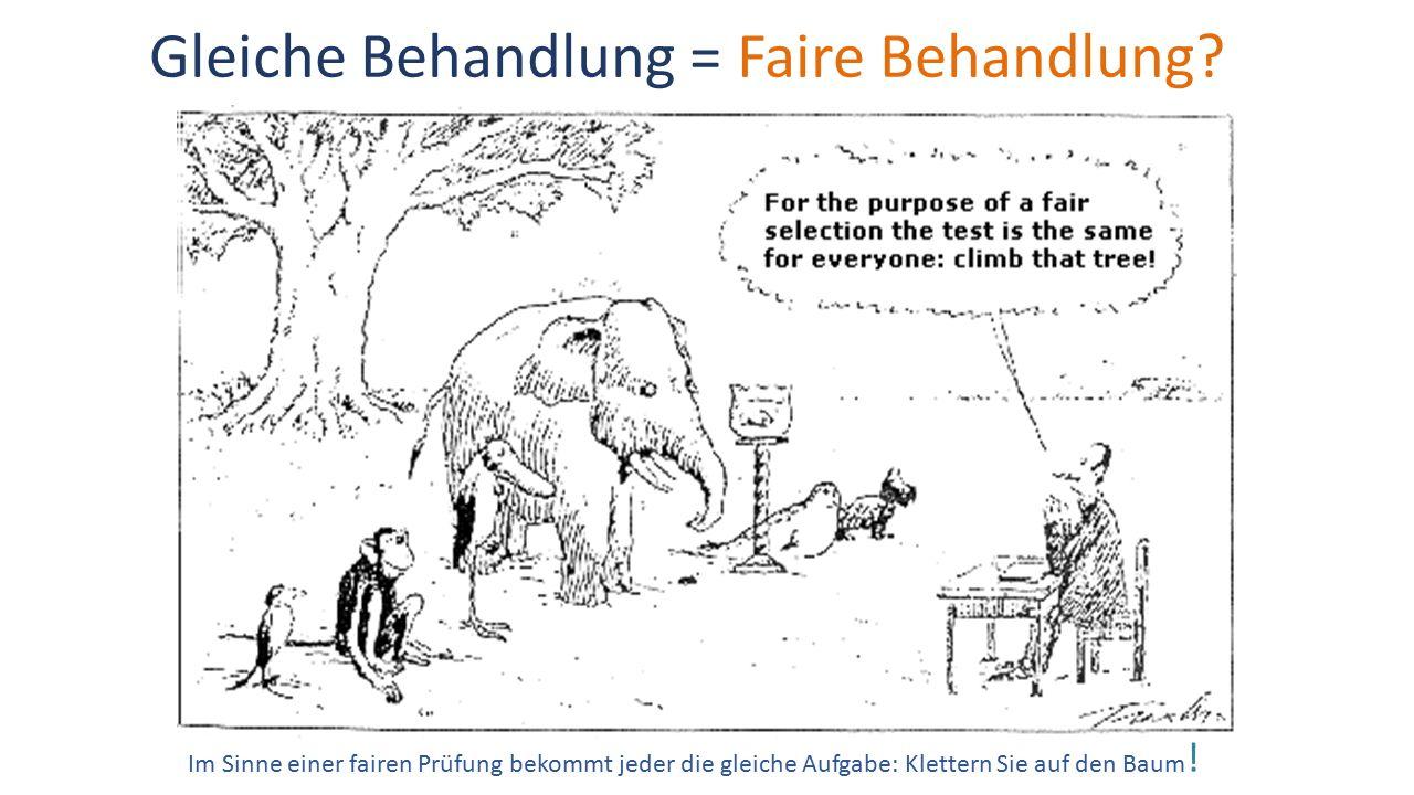 Gleiche Behandlung = Faire Behandlung? Im Sinne einer fairen Prüfung bekommt jeder die gleiche Aufgabe: Klettern Sie auf den Baum !