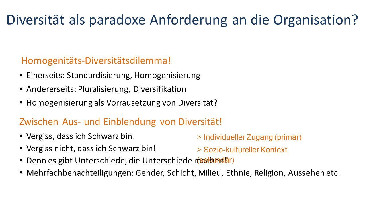 Diversität als paradoxe Anforderung an die Organisation? Homogenitäts-Diversitätsdilemma! Einerseits: Standardisierung, Homogenisierung Andererseits:
