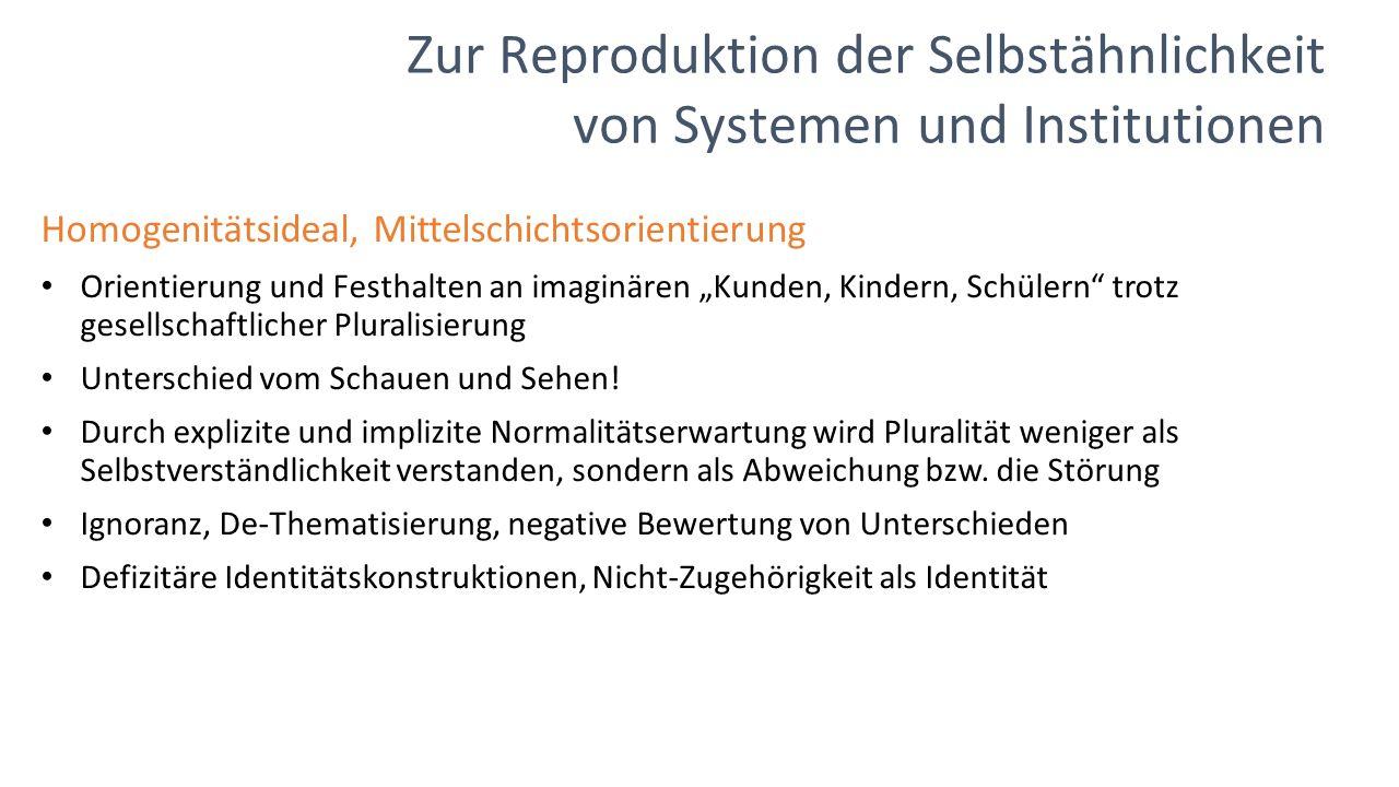 """Zur Reproduktion der Selbstähnlichkeit von Systemen und Institutionen Homogenitätsideal, Mittelschichtsorientierung Orientierung und Festhalten an imaginären """"Kunden, Kindern, Schülern trotz gesellschaftlicher Pluralisierung Unterschied vom Schauen und Sehen."""