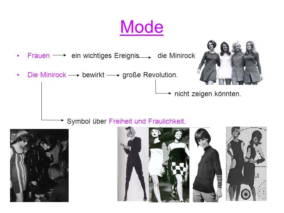 Mode Frauen ein wichtiges Ereignis die Minirock. Die Minirock bewirkt große Revolution.