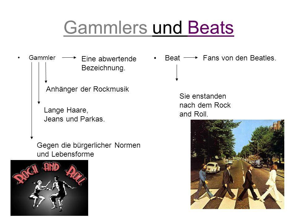Gammlers und Beats Gammler Beat Fans von den Beatles. Anhänger der Rockmusik Lange Haare, Jeans und Parkas. Gegen die bürgerlicher Normen und Lebensfo