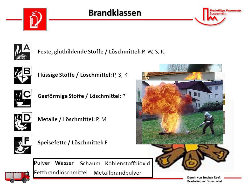 Brandklassen Erstellt von Stephen Reuß Feste, glutbildende Stoffe / Löschmittel: P, W, S, K, Flüssige Stoffe / Löschmittel: P, S, K Gasförmige Stoffe