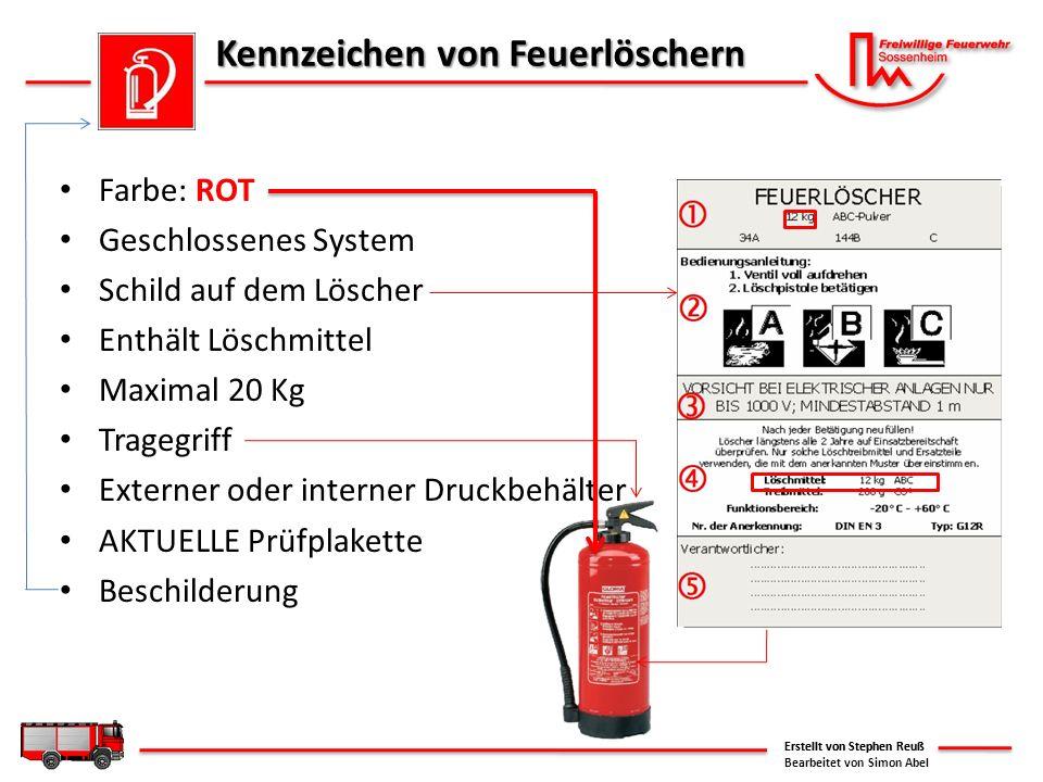 Kennzeichen von Feuerlöschern Farbe: ROT Geschlossenes System Schild auf dem Löscher Enthält Löschmittel Maximal 20 Kg Tragegriff Externer oder intern