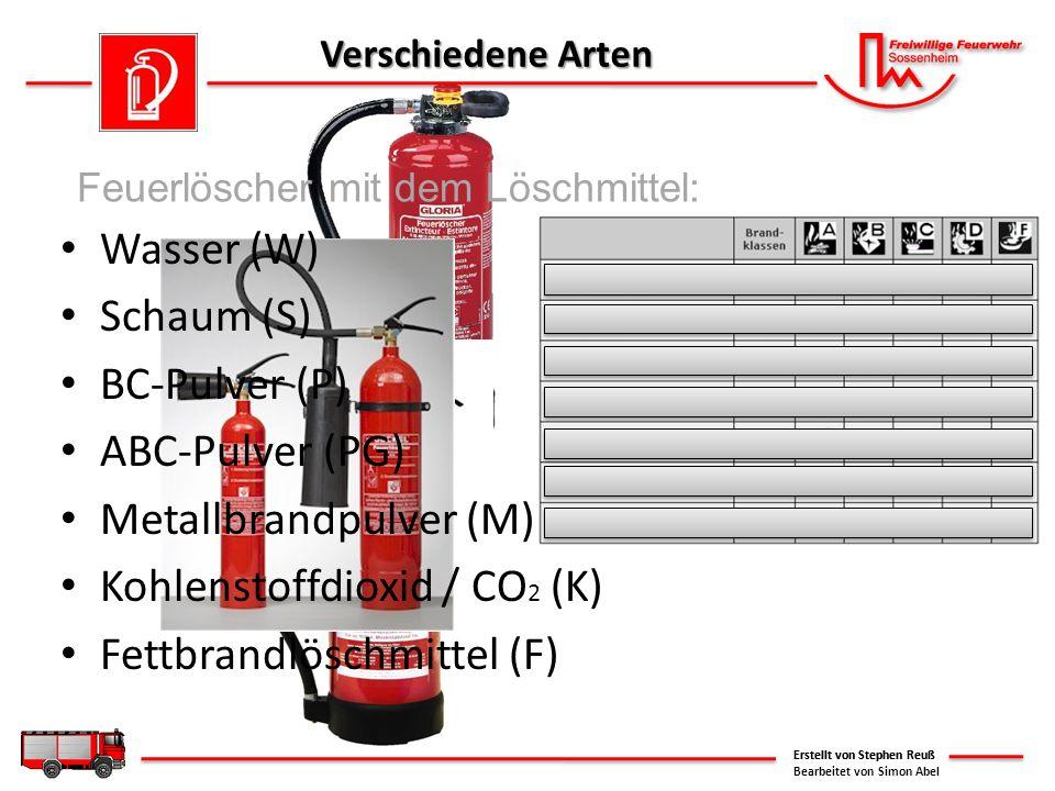 Verschiedene Arten Wasser (W) Schaum (S) BC-Pulver (P) ABC-Pulver (PG) Metallbrandpulver (M) Kohlenstoffdioxid / CO 2 (K) Fettbrandlöschmittel (F) Ers