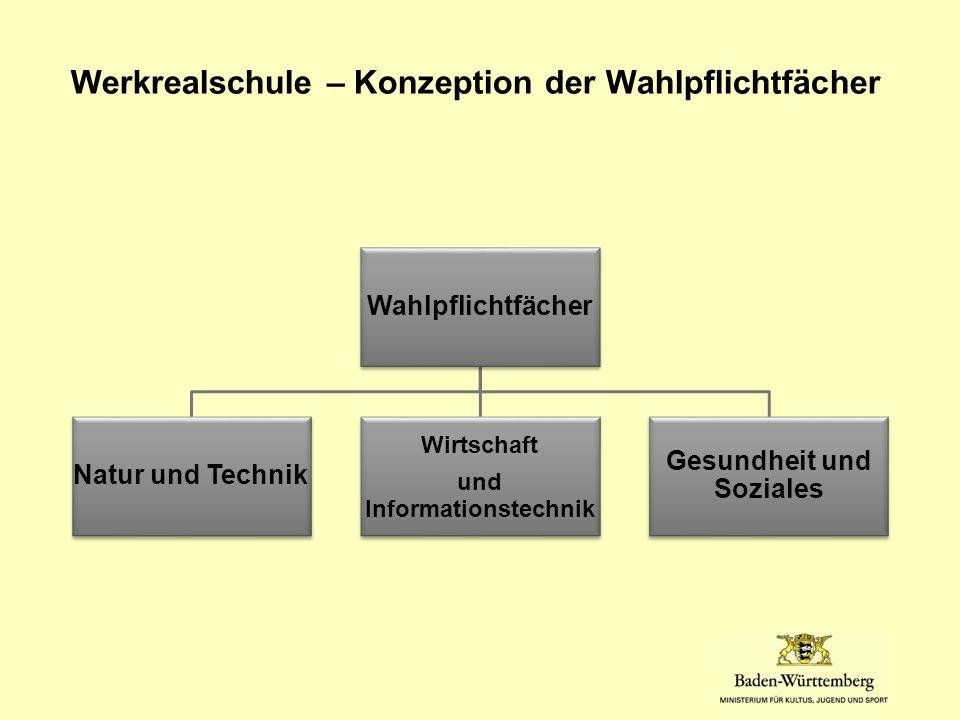Werkrealschule – Konzeption der Wahlpflichtfächer Wahlpflichtfächer Natur und Technik Wirtschaft und Informationstechnik Gesundheit und Soziales