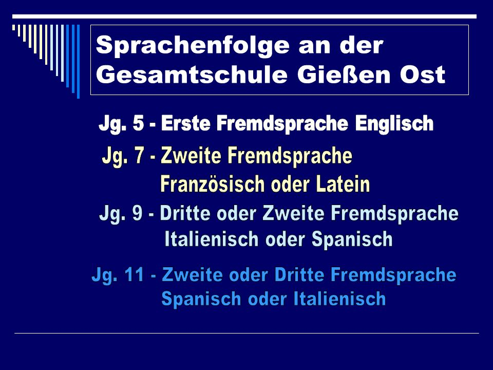 Sprachenfolge an der Gesamtschule Gießen Ost