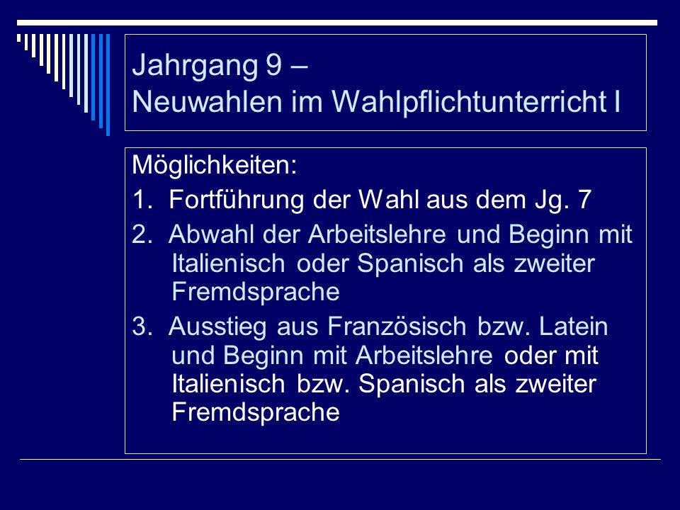 Jahrgang 9 – Neuwahlen im Wahlpflichtunterricht I Möglichkeiten: 1. Fortführung der Wahl aus dem Jg. 7 2. Abwahl der Arbeitslehre und Beginn mit Itali