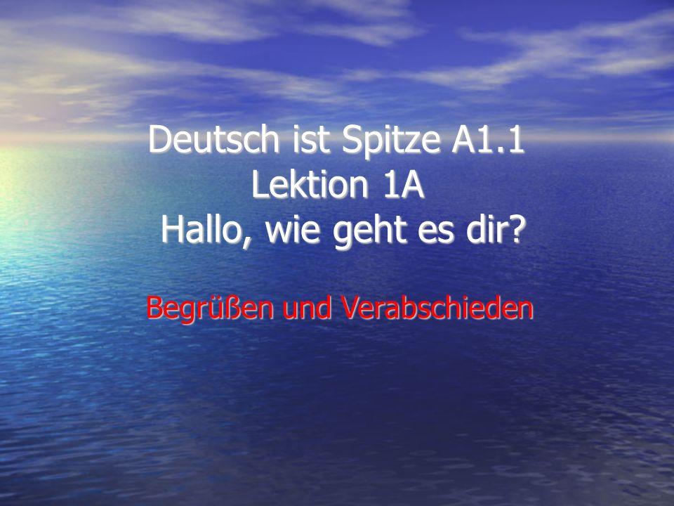 Deutsch ist Spitze A1.1 Lektion 1A Hallo, wie geht es dir Begrüßen und Verabschieden