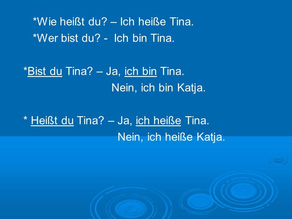 *Wie heißt du? – Ich heiße Tina. *Wer bist du? - Ich bin Tina. *Bist du Tina? – Ja, ich bin Tina. Nein, ich bin Katja. * Heißt du Tina? – Ja, ich heiß
