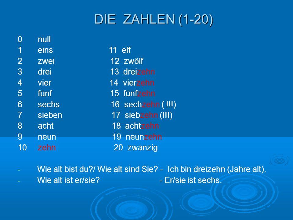 DIE ZAHLEN (1-20) 0 null 1 eins 11 elf 2 zwei 12 zwölf 3 drei 13 dreizehn 4 vier 14 vierzehn 5 fünf 15 fünfzehn 6 sechs 16 sechzehn ( !!!) 7 sieben 17