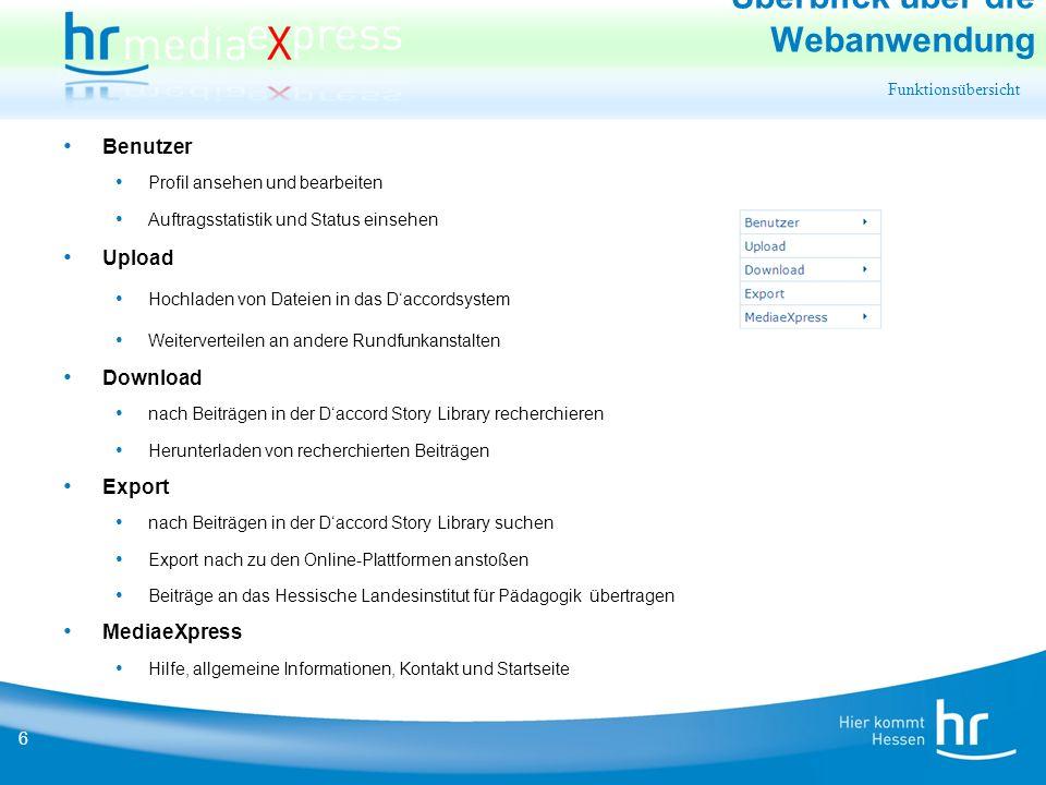 17 Export Export ausführen MediaeXpress prüft nun die Verfügbarkeit der Datei auf dem D'accord Dateiserver und zeigt bei Erfolg das Audioformat oder statt dessen die Fehlerursache an.