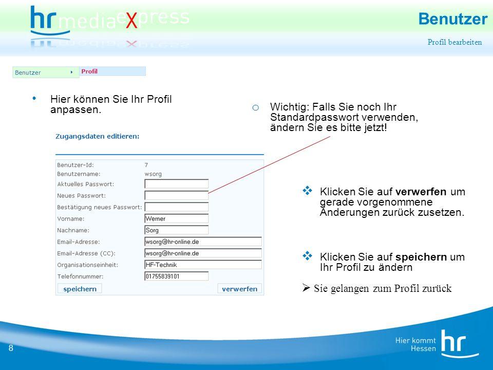 19 Export Rückmeldung Sie erhalten zusätzlich eine Info (per AJAX) über die Weboberfläche, falls Sie noch am System angemeldet sind oder sich das nächste Mal anmelden.