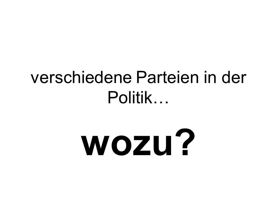 verschiedene Parteien in der Politik… wozu