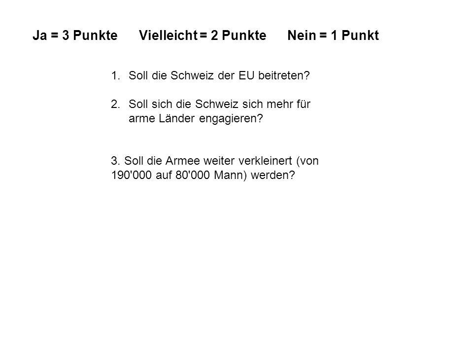 1.Soll die Schweiz der EU beitreten. 2.Soll sich die Schweiz sich mehr für arme Länder engagieren.