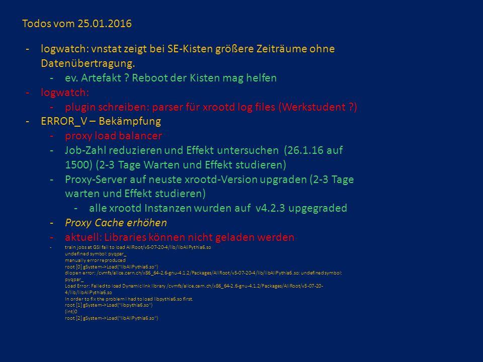 Todos vom 25.01.2016 -logwatch: vnstat zeigt bei SE-Kisten größere Zeiträume ohne Datenübertragung.
