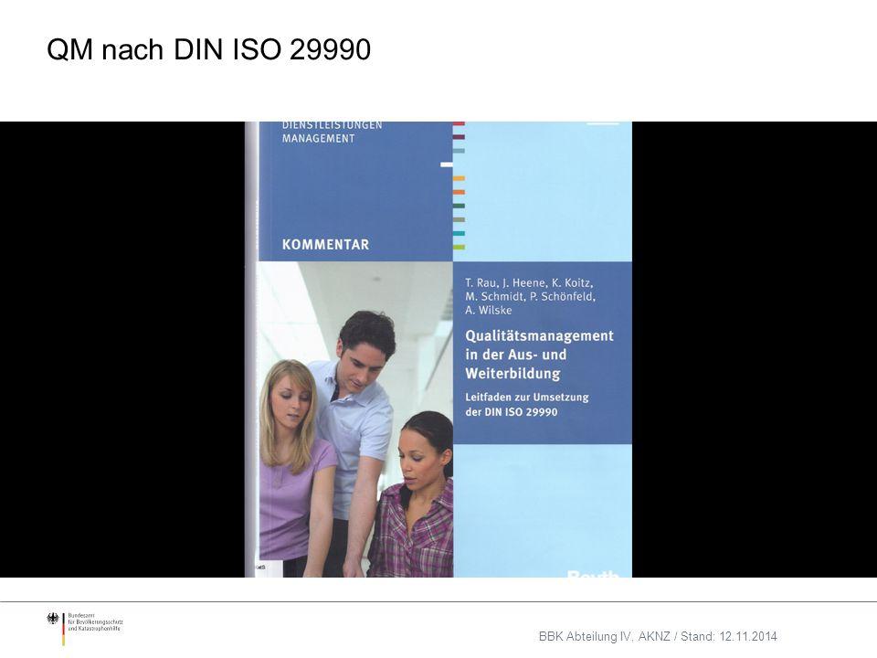 QM nach DIN ISO 29990 BBK Abteilung IV, AKNZ / Stand: 12.11.2014