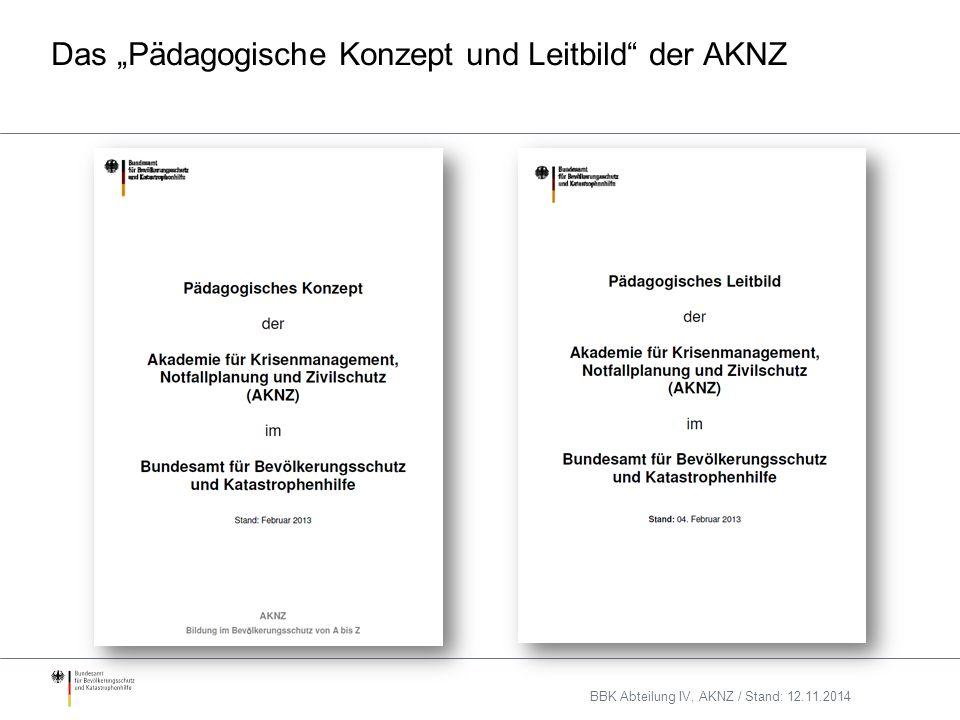 """Das """"Pädagogische Konzept und Leitbild der AKNZ BBK Abteilung IV, AKNZ / Stand: 12.11.2014"""