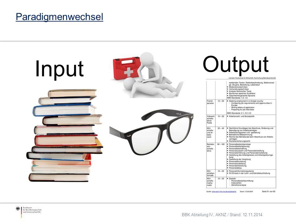Paradigmenwechsel Input Output BBK Abteilung IV, AKNZ / Stand: 12.11.2014