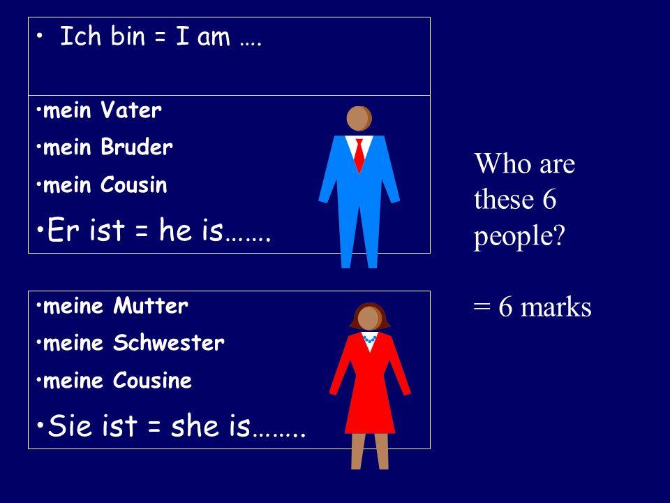 Ich bin = I am …. mein Vater mein Bruder mein Cousin Er ist = he is……. meine Mutter meine Schwester meine Cousine Sie ist = she is…….. Who are these 6