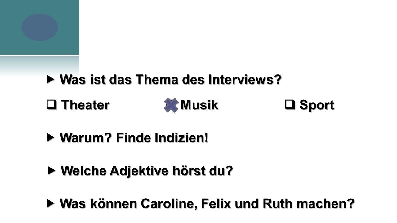 Was ist das Thema des Interviews.  Welche Adjektive hörst du.