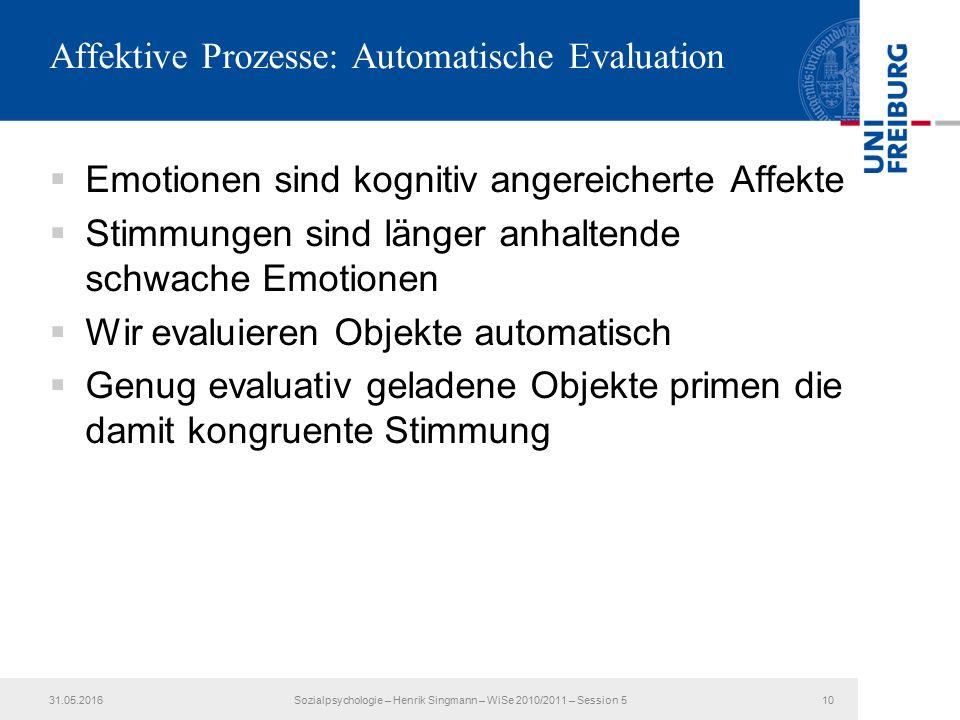 Affektive Prozesse: Automatische Evaluation  Emotionen sind kognitiv angereicherte Affekte  Stimmungen sind länger anhaltende schwache Emotionen  W
