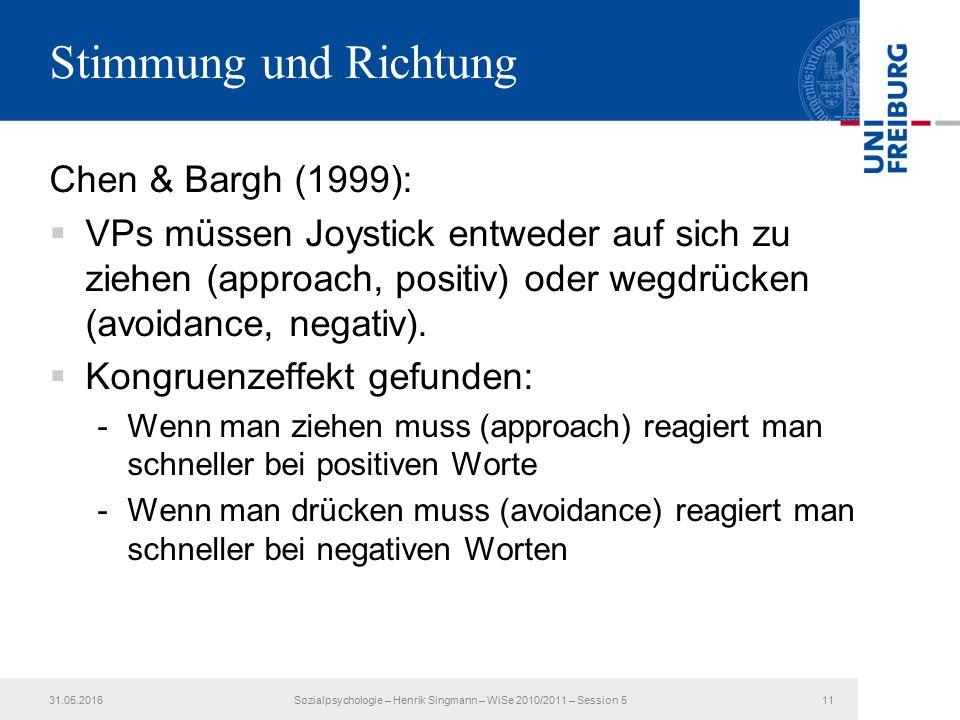 Stimmung und Richtung Chen & Bargh (1999):  VPs müssen Joystick entweder auf sich zu ziehen (approach, positiv) oder wegdrücken (avoidance, negativ).