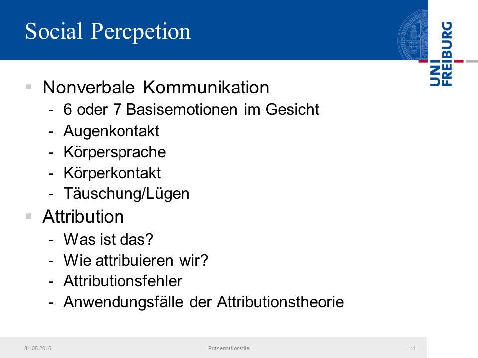 Social Percpetion  Nonverbale Kommunikation -6 oder 7 Basisemotionen im Gesicht -Augenkontakt -Körpersprache -Körperkontakt -Täuschung/Lügen  Attribution -Was ist das.
