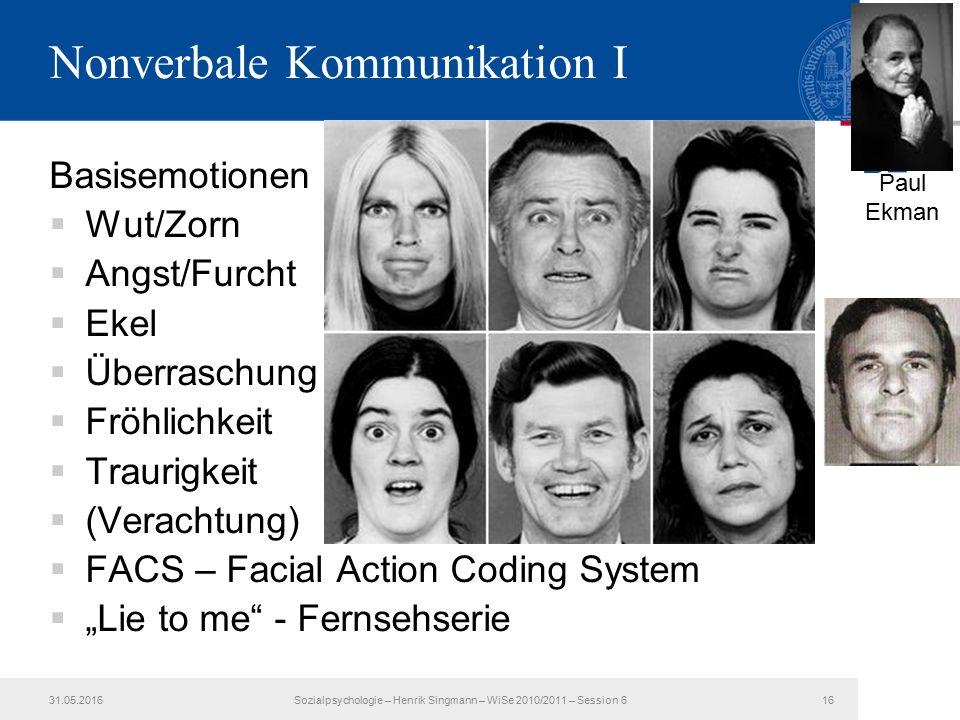Nonverbale Kommunikation I Basisemotionen  Wut/Zorn  Angst/Furcht  Ekel  Überraschung  Fröhlichkeit  Traurigkeit  (Verachtung)  FACS – Facial