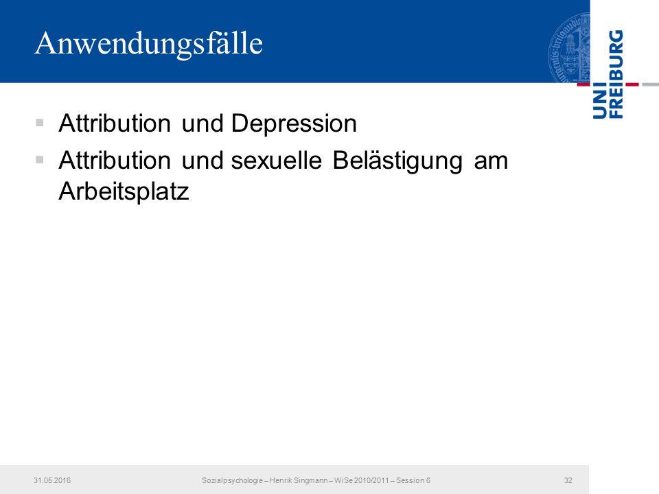 Anwendungsfälle  Attribution und Depression  Attribution und sexuelle Belästigung am Arbeitsplatz 31.05.2016Sozialpsychologie – Henrik Singmann – Wi