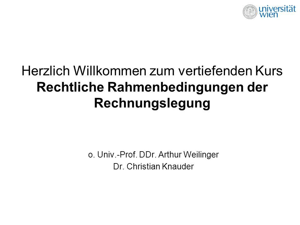Herzlich Willkommen zum vertiefenden Kurs Rechtliche Rahmenbedingungen der Rechnungslegung o. Univ.-Prof. DDr. Arthur Weilinger Dr. Christian Knauder