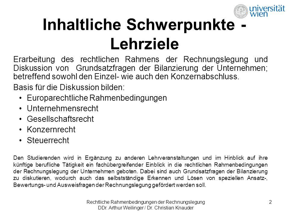 Rechtliche Rahmenbedingungen der Rechnungslegung DDr. Arthur Weilinger / Dr. Christian Knauder 2 Erarbeitung des rechtlichen Rahmens der Rechnungslegu