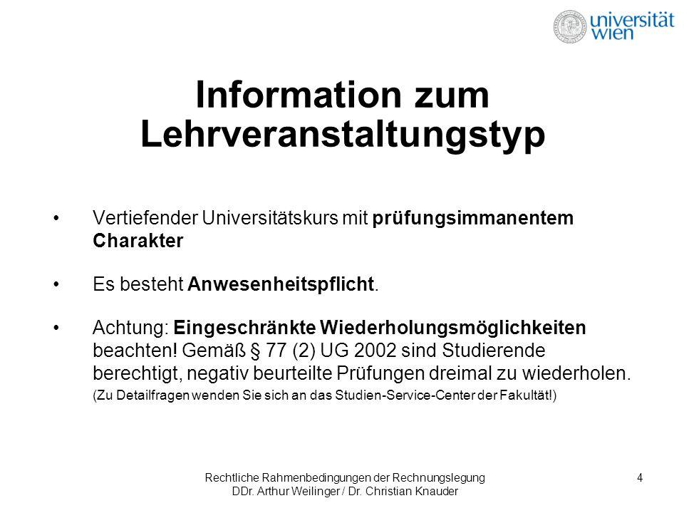 Rechtliche Rahmenbedingungen der Rechnungslegung DDr. Arthur Weilinger / Dr. Christian Knauder 4 Information zum Lehrveranstaltungstyp Vertiefender Un