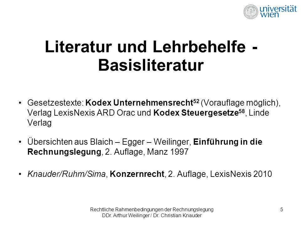 Rechtliche Rahmenbedingungen der Rechnungslegung DDr. Arthur Weilinger / Dr. Christian Knauder 5 Literatur und Lehrbehelfe - Basisliteratur Gesetzeste