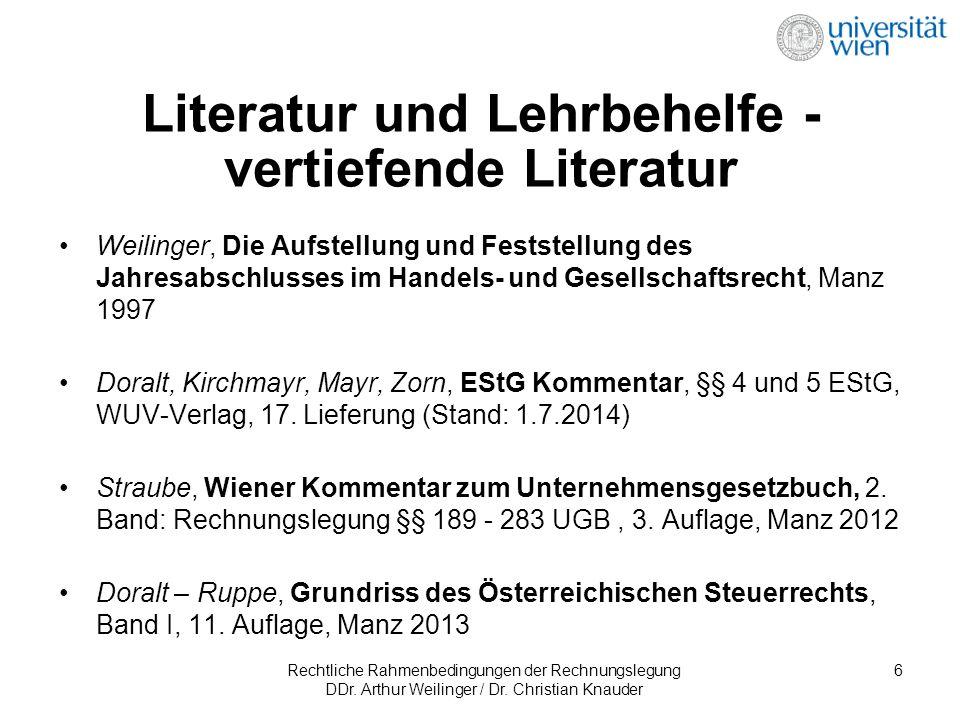 Rechtliche Rahmenbedingungen der Rechnungslegung DDr. Arthur Weilinger / Dr. Christian Knauder 6 Literatur und Lehrbehelfe - vertiefende Literatur Wei
